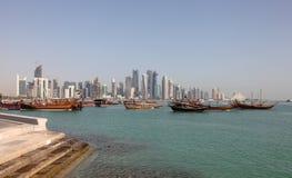 Горизонт новой Дохи городской Стоковые Фотографии RF