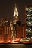 горизонт ночей manhattan Стоковое Изображение RF