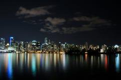 Горизонт ночи Ванкувера Стоковые Изображения
