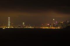Горизонт ночи в Гонконге стоковое фото