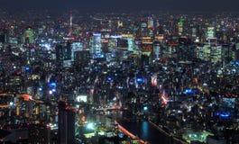 Горизонт ночи на токио Skytree стоковые изображения rf