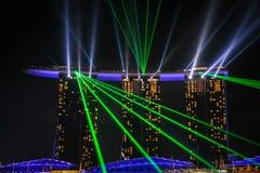 Горизонт ночи Сингапура Стоковые Фото