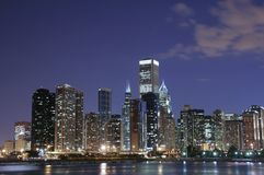 горизонт ночи chicago Стоковые Изображения