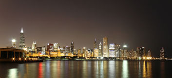 горизонт ночи chicago Стоковые Изображения RF