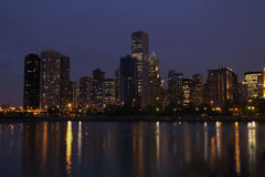 горизонт ночи chicago Стоковое Фото