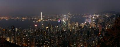 горизонт ночи Hong Kong стоковое фото