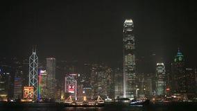 горизонт ночи Hong Kong сток-видео