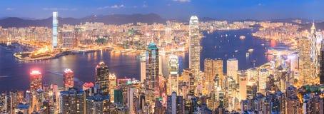 горизонт ночи Hong Kong Стоковое Изображение