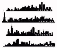 Горизонт Нью-Йорка, горизонт Чикаго, горизонт Майами, горизонт Детройта Стоковая Фотография RF