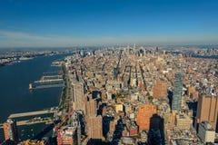 Горизонт Нью-Йорка и Нью-Джерси Манхаттан осмотрело от свободной Стоковые Фотографии RF