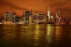 Горизонт Нью-Йорк на ноче Стоковая Фотография RF