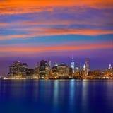 Горизонт Нью-Йорк NYC США захода солнца Манхаттана Стоковое фото RF