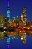 Горизонт Нью-Йорк NYC США захода солнца Манхаттана Стоковые Фотографии RF