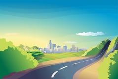 Горизонт дороги ландшафта города Иллюстрация штока