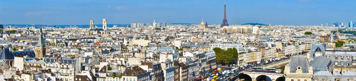 Горизонт Парижа от Нотр-Дам de Парижа Стоковое Изображение