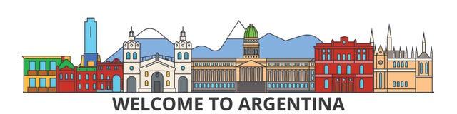 Горизонт плана Аргентины, аргентинская плоская тонкая линия значки, ориентир ориентиры, иллюстрации Городской пейзаж Аргентины, а бесплатная иллюстрация