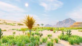 Горизонт пустыни Ясный день Горы в расстоянии, песчанных дюнах и голубом небе Красивый пейзаж Песчанные дюны и горячее небо сток-видео