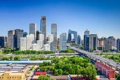 Горизонт района Пекина Китая финансовый стоковые изображения