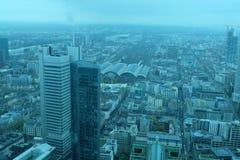 Горизонт района Франкфурта глобальный финансовый стоковое фото