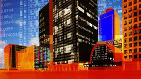 Горизонт районов доков Лондона с данными и кодом стоковая фотография rf