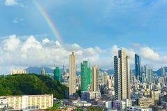 горизонт радуги Hong Kong Стоковое Изображение