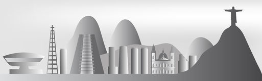 Горизонт Рио-де-Жанейро вектора Стоковая Фотография