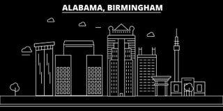 Горизонт силуэта Бирмингема США - Город вектора Бирмингема, американская линейная архитектура, здания Перемещение Бирмингема бесплатная иллюстрация