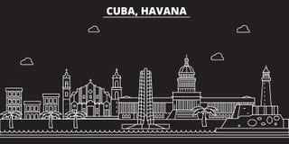 Горизонт силуэта Гаваны Город вектора Кубы - Гаваны, кубинская линейная архитектура, здания Иллюстрация перемещения Гаваны иллюстрация вектора