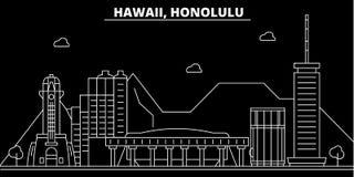 Горизонт силуэта Гонолулу США - Город вектора Гонолулу, американская линейная архитектура, здания Перемещение Гонолулу иллюстрация вектора