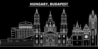 Горизонт силуэта города Будапешта Город вектора города Венгрии - Будапешта, венгерская линейная архитектура Город Будапешта иллюстрация штока