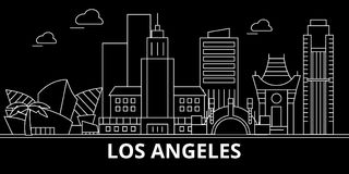 Горизонт силуэта города Лос-Анджелеса США - Город вектора города Лос-Анджелеса, американская линейная архитектура город los angel Стоковое Изображение RF