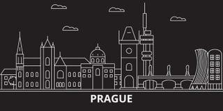 Горизонт силуэта города Праги Чехия - город вектора города Праги, чехословакская линейная архитектура Перемещение города Праги иллюстрация штока