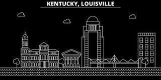 Горизонт силуэта Луисвилла США - Город вектора Луисвилла, американская линейная архитектура, здания Перемещение Луисвилла иллюстрация штока