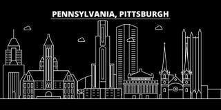 Горизонт силуэта Питтсбурга США - Город вектора Питтсбурга, американская линейная архитектура, здания Перемещение Питтсбурга бесплатная иллюстрация