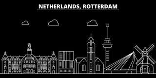 Горизонт силуэта Роттердама Город вектора Нидерландов - Роттердама, голландская линейная архитектура, здания Роттердам иллюстрация штока