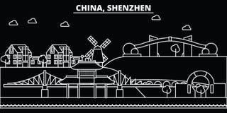 Горизонт силуэта Шэньчжэня Город вектора Китая - Шэньчжэня, китайская линейная архитектура, здания Перемещение Шэньчжэня иллюстрация штока