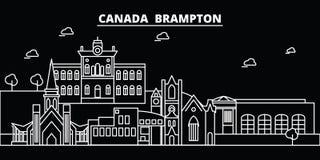 Горизонт силуэта Brampton Город вектора Канады - Brampton, канадская линейная архитектура, здания Перемещение Brampton бесплатная иллюстрация