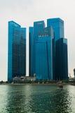 Горизонт Сингапура залива финансового района и Марины Стоковые Фотографии RF