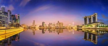 Горизонт Сингапура и взгляд залива Марины Стоковое Изображение RF