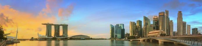 Горизонт Сингапура и взгляд залива Марины Стоковая Фотография RF
