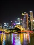 Горизонт Сингапура и взгляд залива Марины Стоковое Изображение