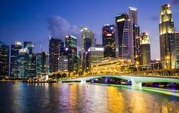 Горизонт Сингапура и залив Марины взгляда Стоковые Изображения RF