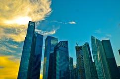 Горизонт Сингапура на ноче Стоковые Фотографии RF
