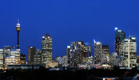 горизонт Сидней ночи Стоковое Изображение