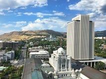 Горизонт Солт-Лейк-Сити с офисным зданием церков LDS Стоковое Фото