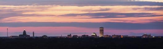 Горизонт Спрингфилда на заходе солнца Стоковая Фотография RF
