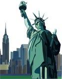 Горизонт статуи свободы и Нью-Йорка, иллюстрация вектора Стоковая Фотография RF