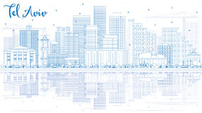 Горизонт Тель-Авив плана с голубыми зданиями и отражениями иллюстрация вектора