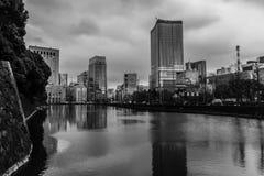 Горизонт токио черно-белый стоковые фото