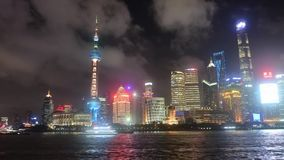 Горизонт финансового центра Китая на видео ночи